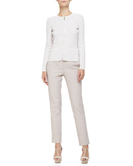 Diagonal-Striped Knit Zip-Front Jacket & Stretch Cotton Wide-Cuffed Slim Pants