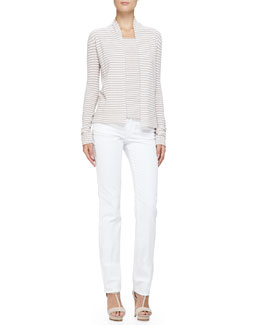 No-Closure Stripe Knit Cardigan, Cap-Sleeve Scoop-Neck Striped Top & Brushed Cotton 5-Pocket Slim Fit Jeans