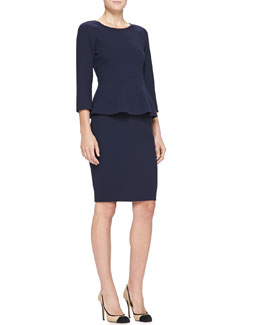 3/4-Sleeve Double-Crepe Back-Zip Top & Double-Crepe Pencil Skirt
