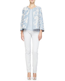 Interwoven Printed Leather Jacket, Plisse Georgette Tank & Brushed Cotton 5-Pocket Regular Fit Jeans