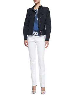 Flap-Pocket Utility Jacket, Cap-Sleeve Floral Print Satin Tee & Brushed Cotton Five-Pocket Slim Fit Jeans