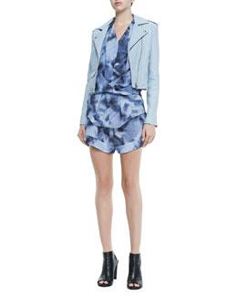 Ashville Zip-Front Moto Jacket, Orphee Cap-Sleeve Wraparound Blouse & Odilon Printed High-Leg Shorts