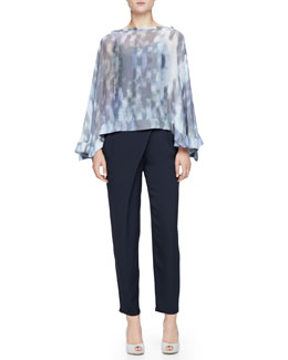 Cumulus Chiffon Print Poncho & Asymmetric-Draped Charmeuse Pants