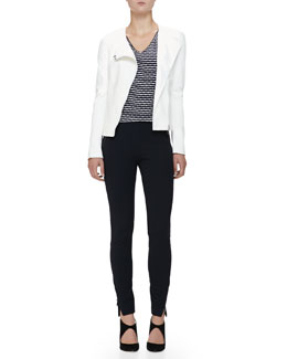 Asymmetric-Zip Leather Moto Jacket, Texture-Striped Jersey Tee & Jersey Leggings with Zipper Details