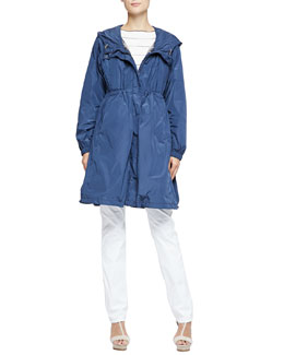 Lightweight Tech Fabric Trench Coat with Removable Vest & Short-Sleeve Boat-Neck Striped Top