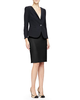 1-Button Sheer-Back Jacket & Double Crepe Pencil Skirt