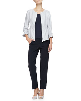 Jewel-Neck Zip-Front Pintucked Jacket & Cropped Straight-Leg Pants