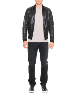 Leather Bomber Jacket, Short-Sleeve Henley T-Shirt & Destroyed Washed Denim Jeans