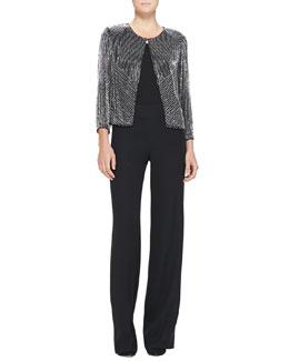 3/4-Sleeve Collarless Chevron-Beaded Jacket & Side-Zip Techno Cady Pants