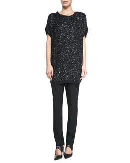 Sequined Cap-Sleeve Tunic & Elastic-Waist Slim Pants
