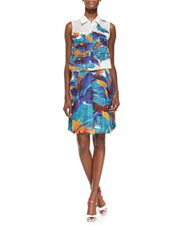 Cisco Sleeveless Flying Birds Top & Hoki Pleated Flying Birds-Print Skirt