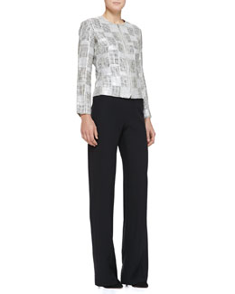 Sequined Suede Box-Weave Jacket & Side-Zip Techno Cady Pants