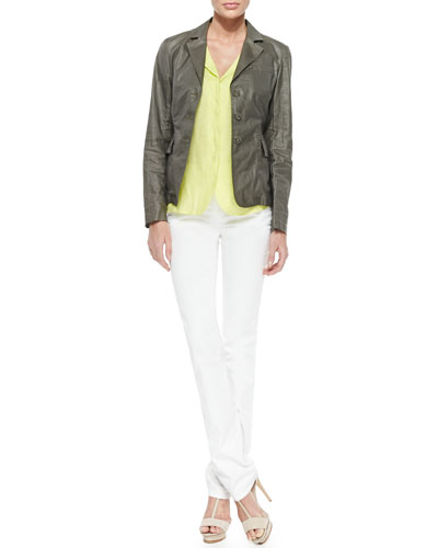 Three-Button Coated Ramie Blazer & Notched-Collar Raw Linen Tunic