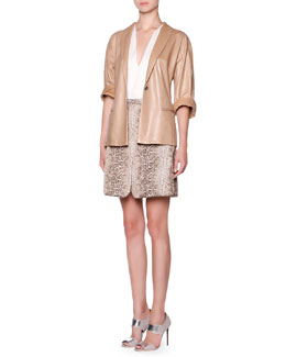 Giorgio Armani Lambskin One-Button Jacket, Silk Split-Neck Layered Blouse & Snakeskin Jacquard Skirt