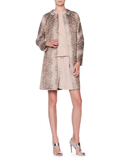 Giorgio Armani Snakeskin-Design Jacquard Topper, Front-Panel Draped Top & Pleated Linen-Blend Bermuda Shorts