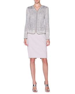 Giorgio Armani Textured Knit-Jacquard Jacket & Wool Slim Skirt