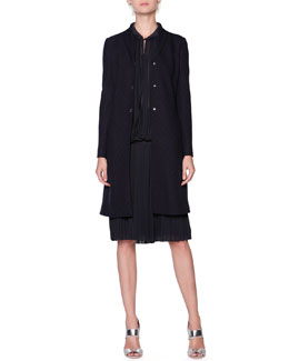 Giorgio Armani Chevron-Textured Snap Jacket and Full Plisse Crepe Skirt