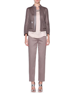 Giorgio Armani Leather-Trim Mesh Jacket, Tricolor Stitched Blouse & Polished Ankle Pants