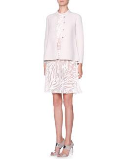 Giorgio Armani Godet Back Compact Knit Jacket & Zebra Print Drape Front Dress