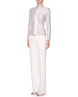 Giorgio Armani Grosgrain-Trim Metallic Tweed Jacket & Stretch Twill Slim-Leg Pants