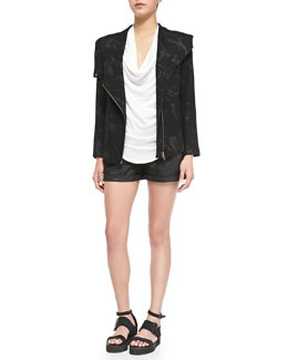 Helmut Lang Tera Printed Front-Zip Sweater Jacket, Feather-Jersey Tee & Abrade Coated Rolled-Cuff Shorts