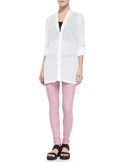 Helmut Lang Swift Tab-Sleeve Tunic Top, Asymmetric Jersey Bra Top & Stretch Plonge Leather Leggings