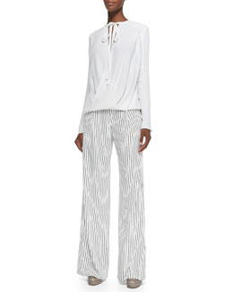 Long-Sleeve Wrap-Front Silk Blouse & Striped Flared Crepe Pants