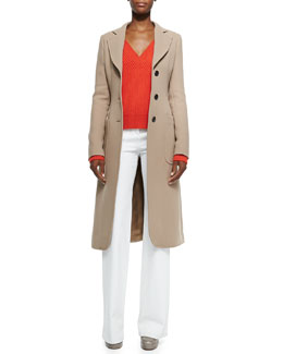 Brushed Double-Face Crepe Coat, Cashmere V-Neck Cable-Knit Sweater & High-Waist Wide-Leg Denim Pants