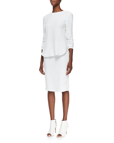 Marelle Leather-Lace Long-Sleeve Top & Fianna Lace-Side Pencil Skirt