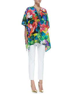 Ralph Lauren Black Label Adriana Printed Tunic & Bi-Stretch Cotton Annie Pants
