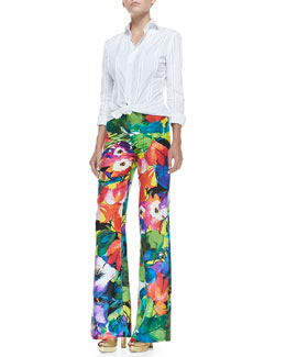 Ralph Lauren Black Label Dress-Weight Button-Down Shirt & Chaundra Wide-Leg Floral Pants