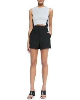 Knit/Denim Crop Top & High-Waisted Shorts