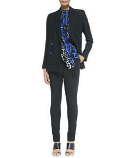 Double-Breasted Blazer, Mine-Print Sleeveless Asymmetric Top & Asymmetric-Tie Pants