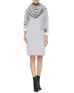 Vince Double-Face-Knit V-Neck Dress & Fringe-Trim Voile Scarf