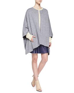 Vince Double-Face Merino Cape, Mixed-Knit Rib-Trim Sweater & Drop-Yoke Pleated Leather Skirt