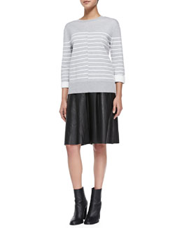 Vince Double-Face Striped Knit Sweater & Grosgrain-Waist A-Line Leather Skirt