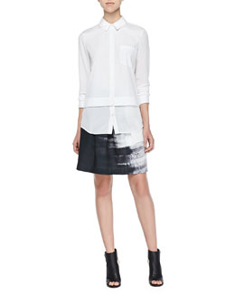 Vince Mixed-Fabric Layered Blouse & Brushstroke-Print Pleated Skirt