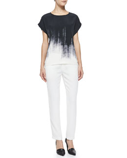 Vince Brushstroke-Print Silk Tee & Satin-Striped Tuxedo Trousers
