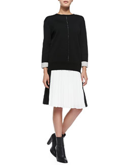 Vince Double-Faced Crewneck Sweater & Pleated Georgette Colorblock Skirt
