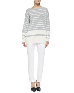 Vince Cashmere Banded Ribbed Sweater & Satin-Striped Tuxedo Trousers