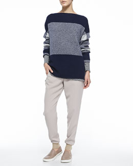 Vince Mixed-Pattern Knit Sweater, Mixed-Stripe Slub Tee & Pull-On Drawstring Jogging Pants
