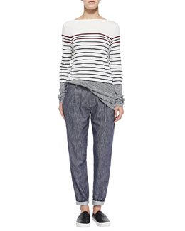 Vince Mixed-Stripe Boat-Neck Tee & Railroad-Stripe Tapered Cotton Trousers
