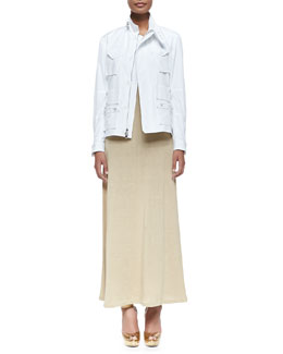 Utility Bomber Jacket with Zip & Linen Jersey Maxi Dress