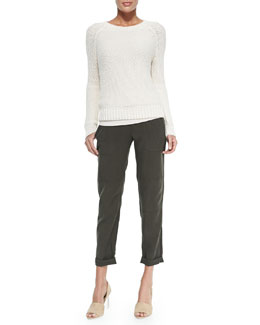 Vince Mixed-Knit Rib-Trim Sweater, Favorite Sleeveless Scoop-Neck Tank & Cropped Twill Cargo Pants
