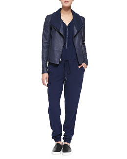 Vince Knit-Collar Leather Jacket & Front-Zip Drawstring Jersey Jumpsuit