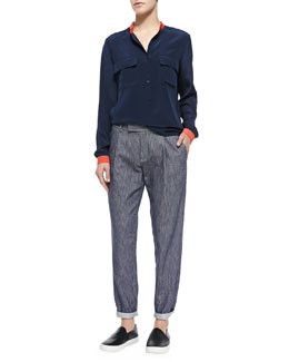 Vince Contrast-Trim Silk Blouse & Railroad-Stripe Tapered Cotton Trousers