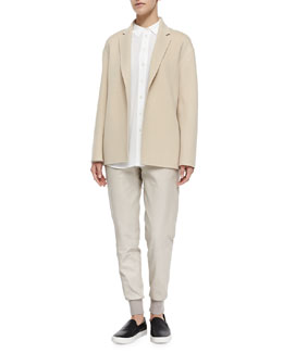 Vince Self-Tie Belted Easy Jacket, Silk/Linen Combo Blouse & Knit-Cuff Leather Jogging Trousers
