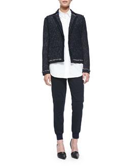 Vince Fringe-Trim Tweed Jacket, Striped-Sleeve Poplin Blouse & Knit-Cuff Cargo Jogging Pants