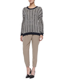 Vince Mercerized Two-Tone Knit Sweater & Leather-Trim Wrap-Waist Pants