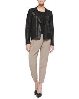 Vince Shiny/Matte Asymmetric Moto Jacket, Piped Relaxed Linen Tee & Leather-Trim Wrap-Waist Pants